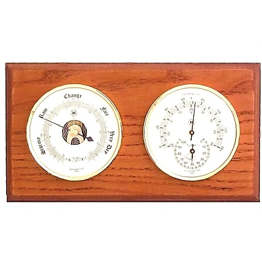 Bey-Berk Brass and  Oak Barometer/Thermometer/Hygrometer