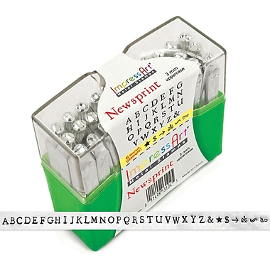 ImpressArt Uppercase Stamp Set, 3mm, Newsprint