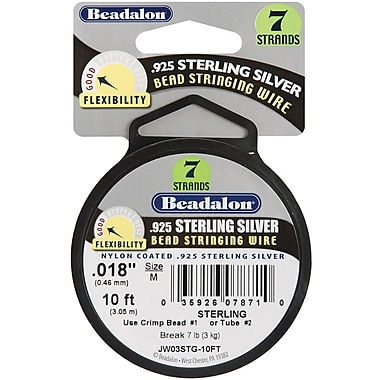 Beadalon Stringing Wire 7-Strand .018in. (.46mm) Diameter 10ft/Pkg-.925 Sterling Silver