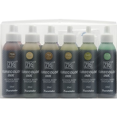 Zig Kurecolor Marker Refill Ink 25ml Bottles Set, Dull Colors
