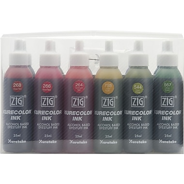 Zig Kurecolor Marker Refill Ink 25ml Bottles Set, Deep Colors
