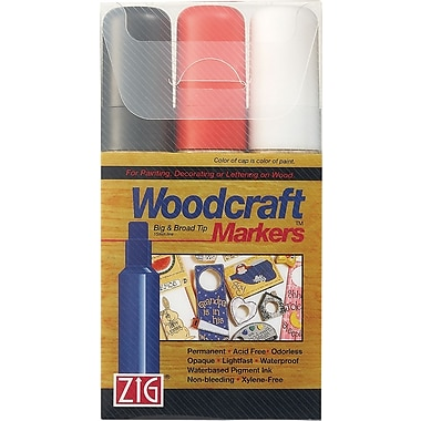 Zig Woodcraft 15mm Tip Markers 3/Pkg-Black/Red/White
