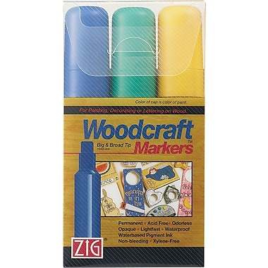 Zig Woodcraft 15mm Tip Markers 3/Pkg-Blue/Green/Yellow