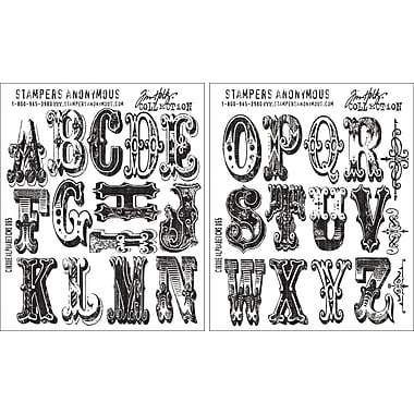 Stampers Anonymous Tim Holtz Cling Rubber Stamp Set-Cirque Alphabet