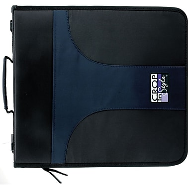 Crop In Style Paper & Sticker 3-Ring Zippered Binder-Navy/Black