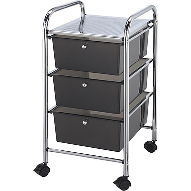 Blue Hills Studio 13in. x 26in. x 15.5in. Storage Cart W/3 Drawers, Smoke