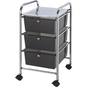 """Blue Hills Studio 13"""" x 26"""" x 15.5"""" Storage Cart W/3 Drawers, Smoke"""