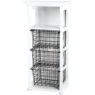 Doodlebug Fashion Furnishings Craft Cubby 15.5in. x 39.5in. x 11in.-White W/Black Baskets