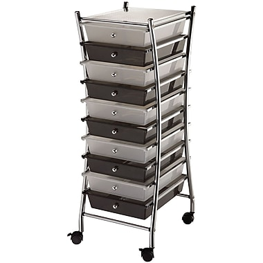 Blue Hills Studio X-Frame Storage Cart W/10 Drawers 13in. x 38in. x 15.5in.-Clear/Smoke