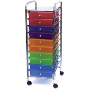 Advantus Cropper Hopper Home Center Plastic Storage Drawer Cart, 10 Drawer, Multi