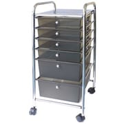 Advantus Cropper Hopper Home Center Rolling Cart, 6 Drawer, Smoke