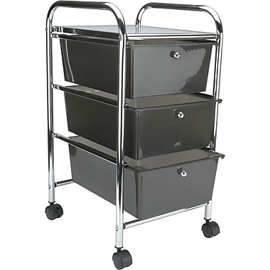 Advantus Cropper Hopper Home Center Rolling Cart, 3 Drawer, Smoke
