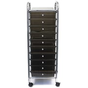 Advantus Cropper Hopper Home Center Plastic Storage Drawer Cart, 10 Drawer, Smoke