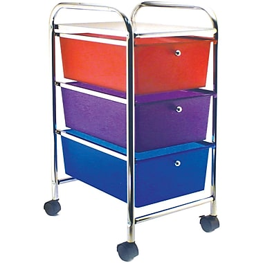 Advantus Cropper Hopper Home Center Rolling Cart, 3 Drawer, Multi