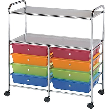 Blue Hills Studio Double Storage Cart W/8 Drawers 31.74in. x 35in. x 14.75in.-Multi