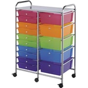 Blue Hills Studio Multi-Color Double Storage Cart, W/15 Drawers