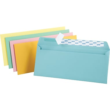 Staples® QuickStrip™ Pastel Color Envelopes, #10, Assorted, 4 1/8in.H x 9 1/2in.W, 50/Pack