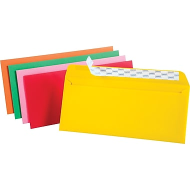 Staples EasyClose #10 Assorted Brights Colored Envelopes, 4 1/8