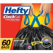 Hefty® CinchSak Drawstring Trash Bags, Black, 30 Gallon, 60 Bags/Box