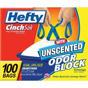 Hefty® CinchSak Drawstring Trash Bags, White, 13 Gallon, 100 Bags/Box
