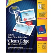 Avery® Clean Edge® 05874 Two-Side Printable Business Card, White, 1000/Box