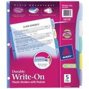 Avery® 16176 Durable Write On Plastic Divider With Pockets, 5 Tab