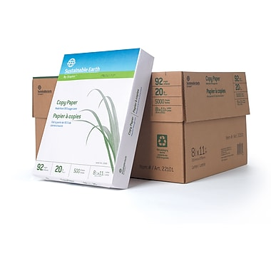 Sustainable Earth by Staples™ – Papier à copies à base de canne à sucre, 20 lb, 8 1/2 po x 11 po