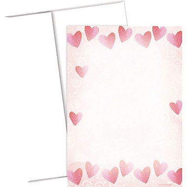 Red Hearts Flat Card Invitations and Envelopes, 20/Pack