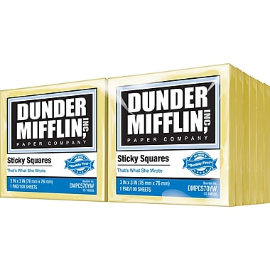 Dunder Mifflin Sticky Squares 3in. x 3in., Yellow, 12 Pads/Pack