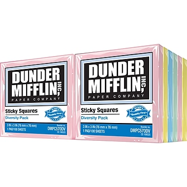 Dunder Mifflin Sticky Squares 3in. x 3in., Assorted Diversity Colors, 12 Pads/Pack