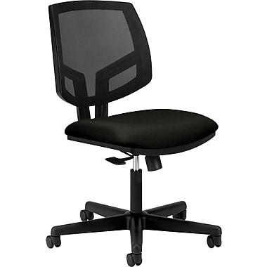 Hon Volt Series Armless Task Chair, Mesh Back, Pneumatic, Adjustable Height Footring, Black