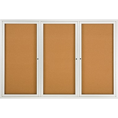 Quartet® Enclosed Cork Bulletin Board, Aluminum Frame, 72