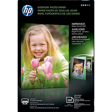 HP® Everyday Inkjet Photo Paper, Glossy, 4