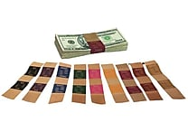 Currency Strap, ABA colors, 1 1/4', natural brown kraft, $1,000, yellow
