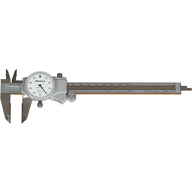 Mitutoyo 505-712 Dial Caliper W/OD & ID Carbide-tipped Jaws, 0 - 6in., White Face