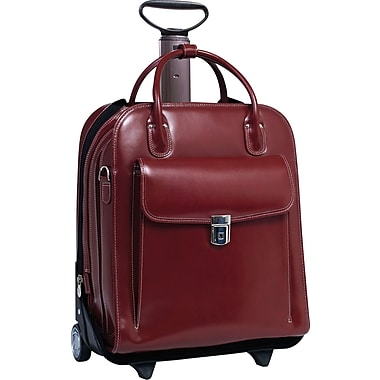 McKleinUSA La Grange Vertical Detachable Wheeled Ladies' Briefcase, Red Leather