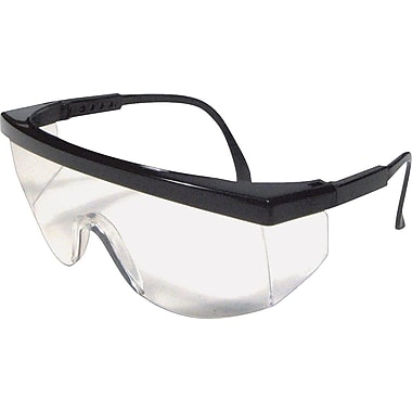 Dentec Blaze Black Safety Glasses, Adjustable Temple, Clear Lens