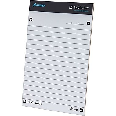 Ampad® Shot Note® Writing Pad, Wide Ruled, 40 Sheets/Pad, 5in. x 8in.