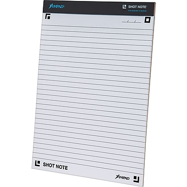 Ampad® Shot Note® Writing Pad, Wide Ruled, 40 Sheets/Pad, 8-1/2in. x 11-3/4in.