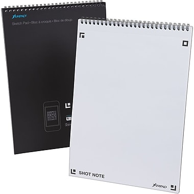 Ampad® Shot Note® Sketch Pad, Blank Sheets, 40 Sheets/Pad, 9