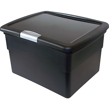 Staples Plastic Hinged File Boxes w/Lid, Black