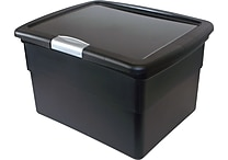 Staples® Plastic Hinged File Box w/Lid, Black
