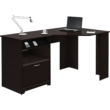 Bush® - Bureau en coin de la collection Cabot, chêne espresso