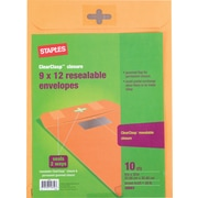 "Staples ClearClasp™ 9"" x 12"" Resealable Brown Kraft Envelopes, 10/Pack (901988)"