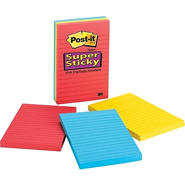 Post-it® Super Sticky 4in. x 6in. Line-Ruled Samba Notes, 3/Pack
