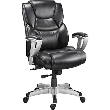 Staples Denville Bonded Leather Big & Tall Managers Chair, Black