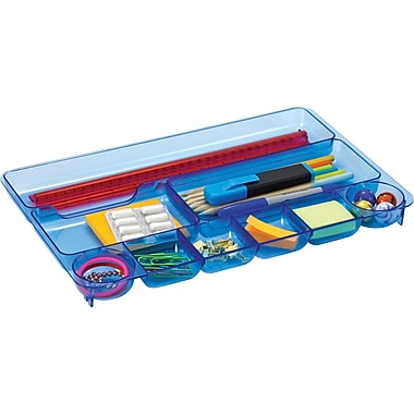 Officemate Blue Glacier Drawer Tray, 9 Compartments