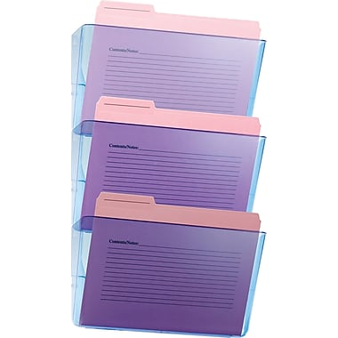 Officemate Blue Glacier Wall File, 3 Pack