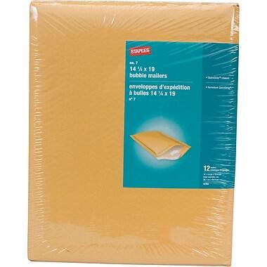 Staples® - Enveloppes à bulles autocollantes, n° 7, 14 1/4 po x 19 po, paq./12 - Pull-Tab Strip (bande à tirette)