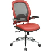 Office Star Space® Leather Professional Charcoal Breathable Mesh Back Managers Chair, Crimson Red